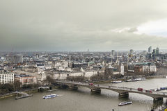 Aerial view of London City and River Thames from London Eye Stock Photography