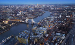Aerial view of London city with Tower Bridge Stock Photos