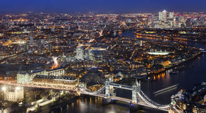 Aerial view of London city with Tower Bridge Royalty Free Stock Images