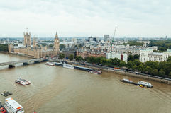 Aerial view from London eye:  Westminster Bridge, Big Ben and Ho Stock Photo