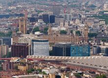Aerial view of London. Aerial view of the Houses of Parliament in London, UK Stock Photo