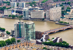 Aerial view of London with river Thames Stock Photos