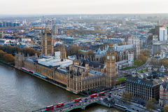 Aerial view of London skyline and the River Thames, UK Stock Images