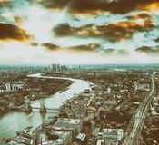 Aerial view of London skyline and Tower Bridge at dusk Royalty Free Stock Photo