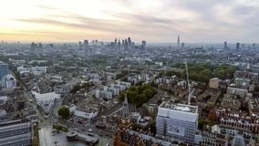 Aerial View London Sunrise Cityscape Iconic Landmarks. And King`s Cross St Pancras International Station Royalty Free Stock Images