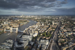 Aerial view of London with with tilt shift model village effect. Aerial view of London with with tilt shift effect filter Stock Photos