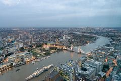 Aerial view of London Tower Bridge and skyline at night, London.  Royalty Free Stock Images