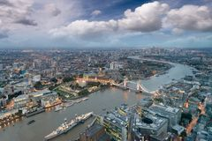 Aerial view of London Tower Bridge and skyline at night, London.  Stock Image