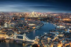Aerial view of London: from the Tower Bridge to the financial district Canary Wharf Royalty Free Stock Photography