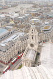 Aerial view of London, UK. The mixture of modern old architecture and red london buses, st pauls, london, england Royalty Free Stock Image