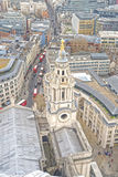 Aerial view of London, UK. The mixture of modern old architecture, st pauls, london, england Royalty Free Stock Image