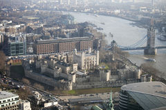 Aerial view of London from the Walkie Talkie building on 20 Fenchurch Street . Royalty Free Stock Image