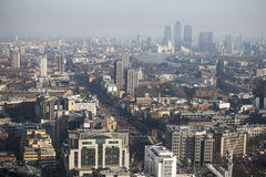 Aerial view of London from the Walkie Talkie building on 20 Fenchurch Street . Royalty Free Stock Images