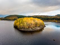 Aerial view of lonely Island in Loch Garry in the scottish Highlands, Scotland stock image