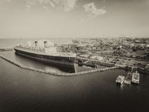 Aerial view of Long Beach Queen Mary, USA.  royalty free stock photography