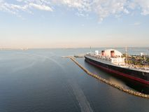 Aerial view of Long Beach Queen Mary, USA.  stock photography