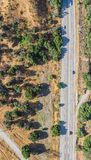 Aerial View of California Road. Aerial view of a long straight road in California taken from above Stock Photo