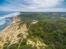Aerial view of long wooden stairs leading to Coppins Lookout gaz. Ebo at Sorrento Ocean Beach. Mornington Peninsula, Melbourne, Australia Royalty Free Stock Photos
