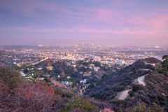 Aerial view of Los angeles city from Runyon Canyon park Royalty Free Stock Image