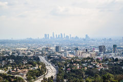 Aerial view of Los angeles city from Runyon Canyon park Mountain View Stock Image