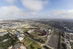 Aerial View Los Angeles Coliseum. Los Angeles, California, USA - April 12, 2017:  Aerial view of the historic Coliseum with afternoon clouds Royalty Free Stock Photo