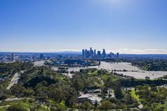 Aerial view of the Los Angeles downtown area with Dodger Stadium. At California royalty free stock photos