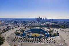 Aerial view of the Los Angeles downtown area with Dodger Stadium. At California stock photos