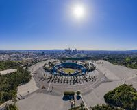 Aerial view of the Los Angeles downtown area with Dodger Stadium. At California stock images