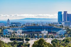Aerial view of the Los Angeles downtown area with Dodger Stadium. At California stock photography
