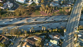 Aerial View of Los Angeles Freeway / Highway / Suburbs - Clip 8. Aerial footage of Los Angeles freeways and suburbs.  Shot using a Sony EX3 camera stock footage