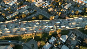 Aerial View of Los Angeles Freeway / Highway / Suburbs - Clip 5. Aerial footage of Los Angeles freeways and suburbs.  Shot using a Sony EX3 camera stock video footage