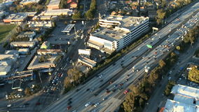Aerial View of Los Angeles Freeway / Highway / Suburbs - Clip 6. Aerial footage of Los Angeles freeways and suburbs.  Shot using a Sony EX3 camera stock video footage