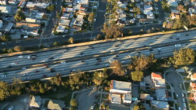 Aerial View of Los Angeles Freeway / Highway / Suburbs - Clip 10. Aerial footage of Los Angeles freeways and suburbs.  Shot using a Sony EX3 camera stock video footage