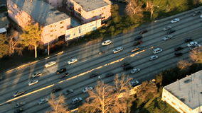 Aerial View of Los Angeles Freeway / Highway / Suburbs - Clip 4. Aerial footage of Los Angeles freeways and suburbs.  Shot using a Sony EX3 camera stock video