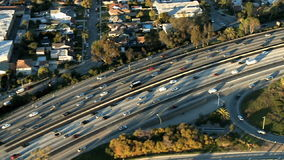 Aerial View of Los Angeles Freeway / Highway / Suburbs - Clip 7. Aerial footage of Los Angeles freeways and suburbs.  Shot using a Sony EX3 camera stock footage
