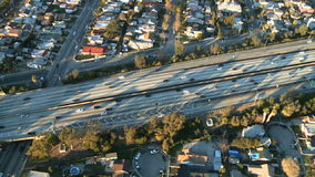 Aerial View of Los Angeles Freeway / Highway / Suburbs - Clip 9. Aerial footage of Los Angeles freeways and suburbs.  Shot using a Sony EX3 camera stock video