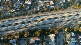 Aerial View of Los Angeles Freeway / Highway / Suburbs - Clip 11. Aerial footage of Los Angeles freeways and suburbs.  Shot using a Sony EX3 camera stock video
