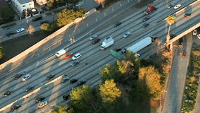 Aerial View of Los Angeles Freeway / Highway / Suburbs - Clip 15. Aerial footage of Los Angeles freeways and suburbs.  Shot using a Sony EX3 camera stock footage