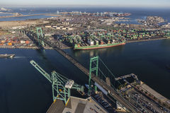 Aerial View Los Angeles Harbor and Terminal Island Royalty Free Stock Photos