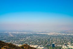 Aerial view of the Los Angeles town from the Hollywood hills. stock photography