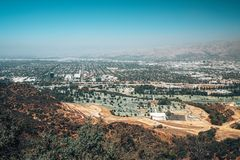 Aerial view of the Los Angeles town from the Hollywood hills. stock photos