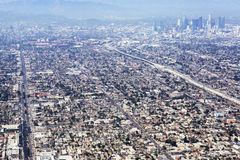 Aerial view of Los Angeles in the United States. City landscape with a mountain peak and downtown royalty free stock photos