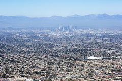 Aerial view of Los Angeles in the United States. City landscape with a mountain peak and downtown Stock Image