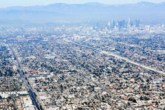 Aerial view of Los Angeles in the United States. City landscape with a mountain peak and downtown royalty free stock images