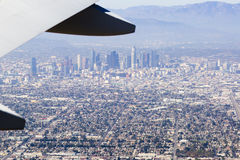 Aerial view of Los Angeles in the United States. City landscape with a mountain peak and downtown Stock Photography