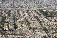 Aerial view of Los Angeles in the United States. City landscape with roofs of houses and roads Stock Photo