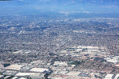 Aerial view of Los Angeles in the United States. Part of the city located near the foothills of Santa Monica mountains, landscape stock image