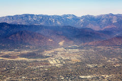 Aerial view of Los Angeles in the United States. Part of the city located near the foothills of Santa Monica mountains, landscape Royalty Free Stock Image
