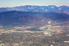 Aerial view of Los Angeles in the United States. Part of the city located near the foothills of Santa Monica mountains, landscape stock photo