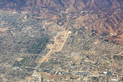 Aerial view of Los Angeles in the United States. Part of the city located near the foothills of Santa Monica mountains, landscape Stock Images